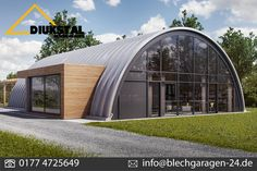 I really like the size and shape of this. The rectangular pop-out is great, and could be larger, wider, 2 levels or a connection to another space. Eco Buildings, Amazing Buildings, Steel Buildings, Quonset Hut Homes, Prefab Homes, Arch House, Dome House, Arch Building, Building A House