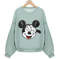 Green Long Sleeve Mickey Mouse Print Crop Sweatshirt ($18) ❤ liked on Polyvore featuring tops, hoodies, sweatshirts, sweatshirt crop top, sweatshirt hoodies, sweat shirts, print sweatshirt and cropped sweatshirt