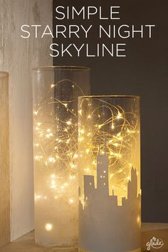 Light up any nook with a cityscape of mason jar lights sure to spread joy in your home. With a few materials, a city silhouette, a little time & a lot of spirit, convert a jar or glass vase into your own DIY fairy lights: perfect as holiday luminaries! Diy Design, Design Ideas, Starry Night Prom, New York Theme, Diy Luminaire, Lighted Centerpieces, Deco Champetre, Night Skyline, Decoration Entree
