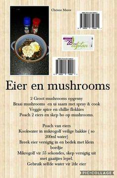 28 dae eetplan - Eier en mushrooms Low Carb Recipes, Diet Recipes, Recipies, Healthy Recipes, 28 Dae Dieet, Dieet Plan, Crispy Baked Chicken, Wine Bottle Art, 28 Days