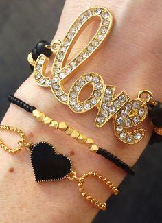 Lovestruck Bracelet Stack in Black and Gold by dAnn, #armcandy, #braceletstack