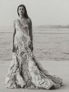 """Natalia Vodianova wearing Alexander McQueen Spring/Summer 2003 in """"Age of Innocence"""", photographed by Peter Lindbergh for Harper's Bazaar March 2003."""