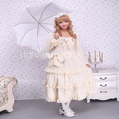 One-Piece/Dress Gothic Lolita / Sweet Lolita / Classic/Traditional Lolita Steampunk® Cosplay Lolita Dress Beige Solid Long SleeveShort - USD $102.99 ! HOT Product! A hot product at an incredible low price is now on sale! Come check it out along with other items like this. Get great discounts, earn Rewards and much more each time you shop with us!