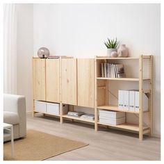 IKEA - IVAR 3 section shelving unit w/cabinets pine Ikea Ivar Regal, Ikea Ivar Cabinet, Ikea Ivar Shelves, Ikea Shelving Unit, Armoire En Pin, Pine Cabinets, Muebles Living, Ikea Family, Shelving Systems