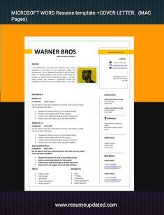 Microsoft Word Resume Template, Modern Cv Template, Cover Letter Format, Sales Resume, Modern Resume, Resume Design, Professional Resume, Dream Job, Curriculum