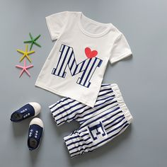 Summer 2 Piece/Set Baby Children's Suits Short Sleeve T-Shirt Tops + Pants Boy 1-2-3-4 Years Old Casual Kids Suit Clothing Sets