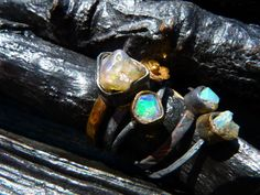 40 OFF SALE raw fire opal gemstone stacking ring by BeijoFlor, $98.40