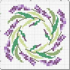 Patroon lavandel in het rond . bisccornu is a pincushion, but i'm thinking of using a larger x-stitch cloth to make the image large enough for a pillow or seat cover. Biscornu Cross Stitch, Free Cross Stitch Charts, Cross Stitch Embroidery, Embroidery Patterns, Cross Stitch Designs, Cross Stitch Patterns, Cross Stitch Flowers, Pin Cushions, Cross Stitching