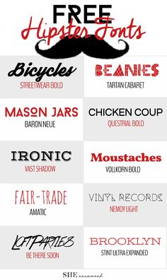 10 Free Hipster Fonts • She Uncovered  ~~ {w/ easy download links}