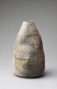 ERNST GAMPERL  'Object', 2008  Lime washed turned oak and fissures fixed with butterfly keys.  Incised with '98/08/250'.  57.2 cm. (22 1/2 in.) high