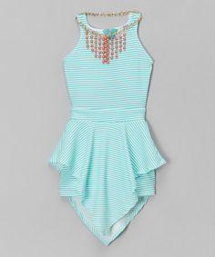 Look at this #zulilyfind! Blue Stripe Skirted Romper & Necklace - Girls #zulilyfinds