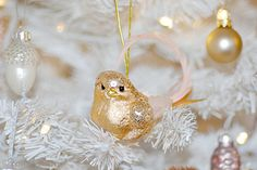Gold bird Christmas tree decoration by Torie Jayne Christmas Tree Decorations, Christmas Ornaments, Holiday Decor, Pink Christmas, Food Festival, Merry And Bright, Tis The Season, Winter Wonderland, Enchanted