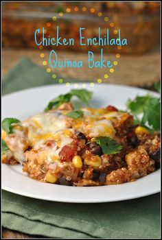 Chicken Enchilada Quinoa Bake-If this is anything like the dish at Rutabagorz in Orange, CA - it will be delish!! Craving it....