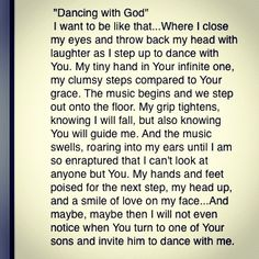 Dancing with GOD