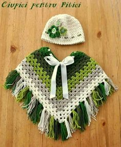 Granny square kids poncho. Crochet pattern. green poncho with fringes. lively colour scheme - Crocheting Journal