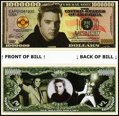 A Blue Christmas With Elvis Million Dollar Bill **Novelty Money** FREE Sleeve