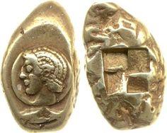 (Turkey) Greek Electrum coin. minted in Cyzicus, Mysia, Turkey. 16.1g. British Museum.