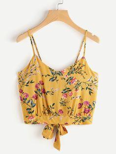 Floral Print Random Split Tie Back Cami Top -SheIn(Sheinside)