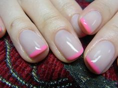 pretty pink tip nails Pink Tip Nails, French Tip Nails, Nude Nails, Garra, Hair And Nails, My Nails, Wedding Nail Polish, Manicure Y Pedicure, Short Nail Designs