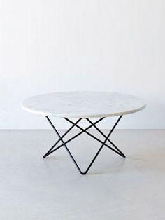 Mesa BKF2 inspirada en los diseños de dichos autores, cuenta con una base en hierro y una tapa en mármol con cantos pulidos