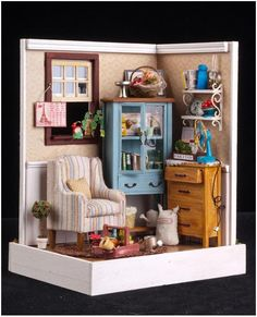 Hi All, Starryfind is proud to bring you our collection of DIY Miniature Houses. DIY Mediterranean House 1 Size: Price: S\\\ DIY Mediterran Vitrine Miniature, Miniature Rooms, Miniature Crafts, Miniature Houses, Miniature Furniture, Doll Furniture, Dollhouse Furniture, Diy Dollhouse, Dollhouse Miniatures