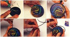 Faux Mola pendant - tute shows how to carve thru layers around a bird pattern.  (Translate) ~ Polymer Clay Tutorials
