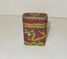 OLD 19TH CENTURY BRONZE CLOISONNE DRAGON RED ENAMEL SMALL OPIUM CANISTER JAR BOX