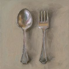 Leslie Lewis Sigler's paintings of tabletop family heirlooms (servingware, creamers, utensils)