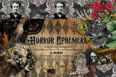The Horror Ephemera Graphics Bundle, with over 1000 textures, clipart and patterns in high resolution Gothic digital paper and overlays Hans Holbein, Halloween Images, Diy Halloween, Floral Illustrations, Graphic Illustration, Creative Illustration, Overlays, Bram Stoker's Dracula