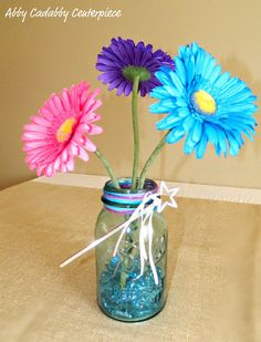 Gerber Daisies in Mason Jars  Abby Cadabby Party Center Piece