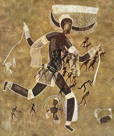 Running horned woman. Tassili  n'Ajjer, Algeria. 6000–4000 B.C.E.  Pigment on rock © The Granger Collection, New York