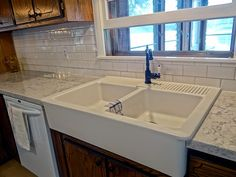 HELIX BY SILESTONE, APRON SINK (IKEA), SUBWAY TILE BACKSPLASH. One Project at a Time - DIY Blog: New Cabin Counter Tops