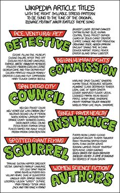 Wikipedia Article Titles That Can Be Sung to the 'Teenage Mutant Ninja Turtles' Theme Song by xkcd