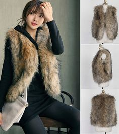 cute and perfect for the cold weather! fake fur vest faux fur jacket coat