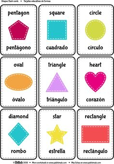 Bilingual shapes and colors flashcards - Print and cut the flash cards to learn shapes in both languages. Preschool Spanish, Spanish Lessons For Kids, Learning Spanish For Kids, Elementary Spanish, Spanish Activities, Spanish Language Learning, Teaching Spanish, English Lessons, Spanish Lesson Plans
