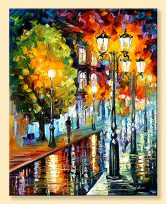 After A Night Rain  Limited Edition Cityscape by AfremovArtStudio