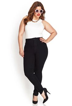 High-Waist - Skinny Jeans (Short) | FOREVER21 PLUS - 2000057223 -$17.90 to size 22