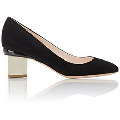 Nicholas Kirkwood Women's Briona Pumps ($595) ❤ liked on Polyvore featuring shoes, pumps, black, black pumps, black shoes, leather sole shoes, black patent pumps and black slip on shoes