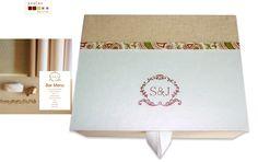 handmade box covered and lined with fabric and paper (monogram giver) caixa feita à mão, forrada com papel e tela de linho