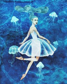 Jellyfish Dance I feel like to fly to the sky when I'm in underwater.  #illustration #jellyfish #ballet #ballerina #underwater #dance #drawing #painting #일러스트 #일러스트레이션 #발레 #발레리나 #그림 #해파리