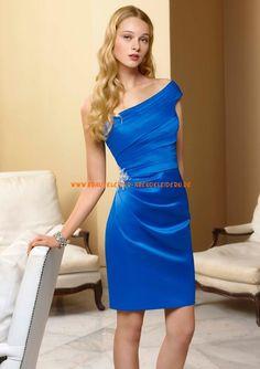 Billige Abendkleider blau kurz aus Satin A-Linie 2013