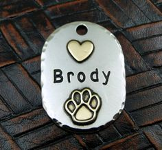 Custom Dog ID Tag Brody Pet ID Tag by IslandTopCustomTags on Etsy, $20.00