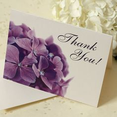 Purple Hydrangea Thank You Card, Thank You Note, Deposit Thank You Messages, Thank You Notes, Thank You Cards, Purple Hydrangea Wedding, Wedding Colors, Your Cards, Wedding Invitations, Etsy, Invitations