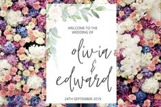 Printed Welcome Wedding Sign Colour Schemes, Wedding Color Schemes, Welcome To Our Wedding, Sign Design, Wedding Trends, A3, Wedding Signs, Floral Wedding, Different Colors