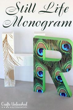 DIY monogram - Anthro knock off {Crafts Unleashed} #papercrafting #craft #modpodge
