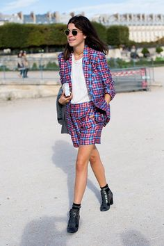 The Man Repeller's Leandra Medine is in on the matching short suit trend, too!