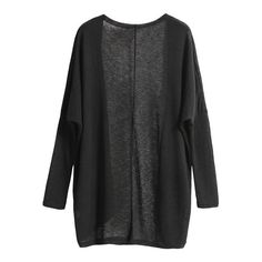 SheIn(sheinside) Black Long Sleeve Loose Knit Cardigan (161.750 IDR) ❤ liked on Polyvore