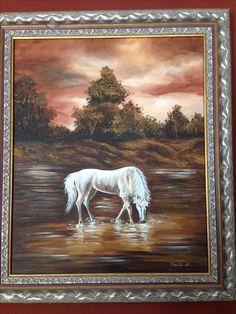 Cuadro caballo bebiendo