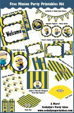 Free Minion Party Printables ~ Party Kit | Party Ideas By Seshalyn