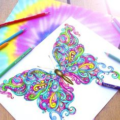 Kristina Webb @colour_me_creative Instagram photos | Websta (Webstagram) colorful butterfly drawing